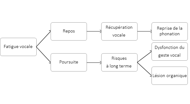 Figure 1. Modèle de la fatigue vocale (Remacle, 2013)